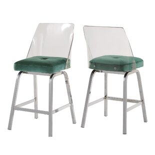 Haskell Swivel Bar  Counter Stool Set of 2 by Everly Quinn