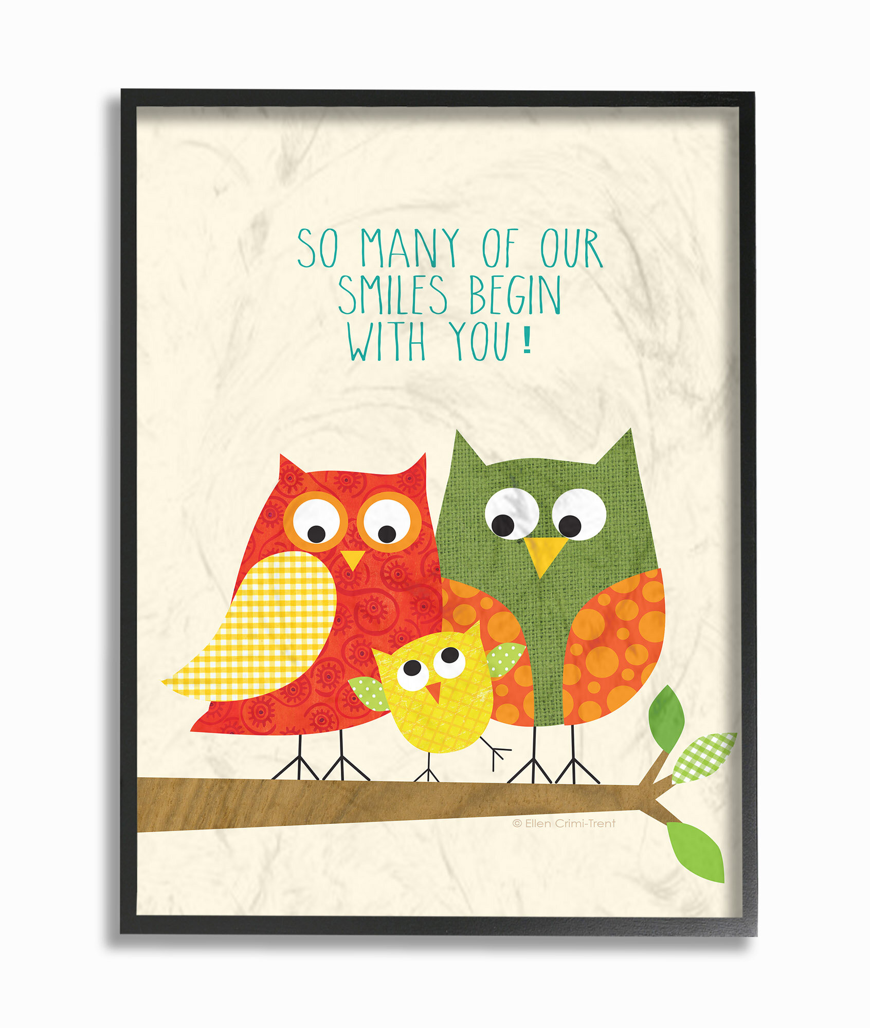 Stupell Industries Owl Family So Many Smiles Graphic Art On Papper Wayfair