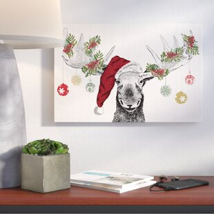 christmas moose graphic art print on canvas