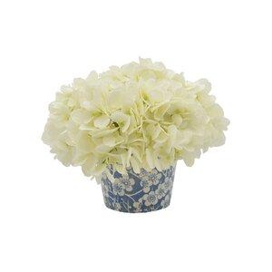 Hydrangea Floral Arrangement in Floral Pattern Pot