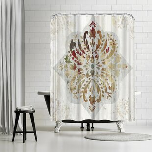 PI Creative Art Red Medallion Single Shower Curtain