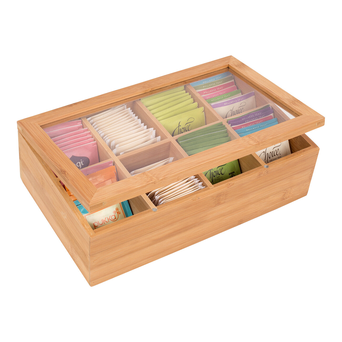Beyond Your Thoughts Bamboo Tea Box Tea Chest Adjustable 16 Compartments Tea Storage Holder Organizer with Latching Lid