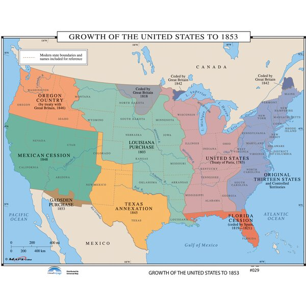 Universal Map US History Wall Maps Growth Of US To - Us boundaries in 1853 map