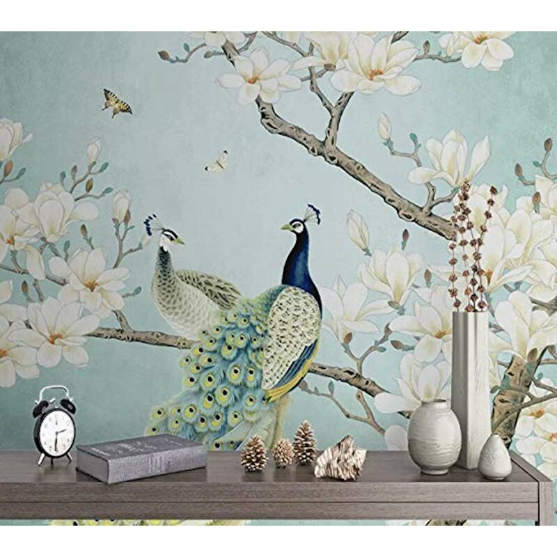 Gk Wall Design Peel And Stick Chinese Peacock Magnolia Wallpaper Wayfair
