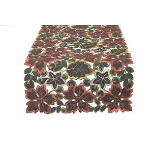 Dainty Leaf Embroidered Cutwork Harvest Table Runner