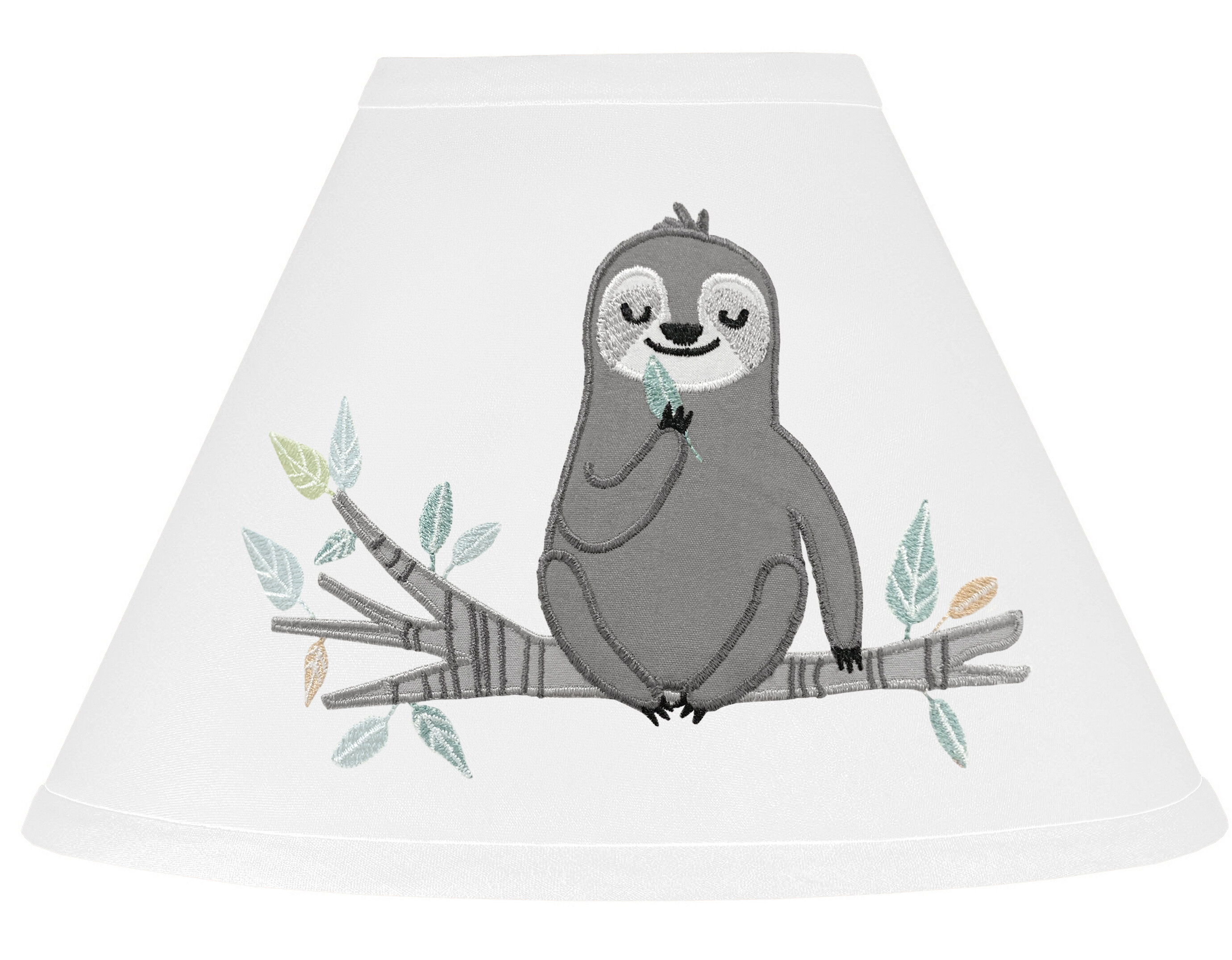 Sweet Jojo Designs Sloth 7 H X 10 W Empire Lamp Shade Uno In Aqua Gray Lime Green White Wayfair