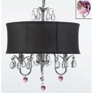 Rosdorf Park Dacia 3-Light Shaded Chandelier with Pink Crystal Hearts