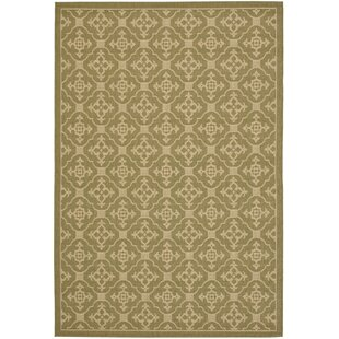 Short Olive / Creme Indoor/Outdoor Area Rug