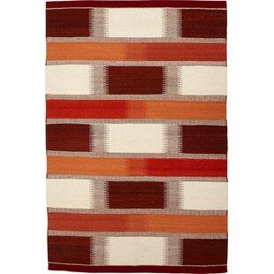 Benoit Handmade Kilim Wool Red Rug by Metro Lane