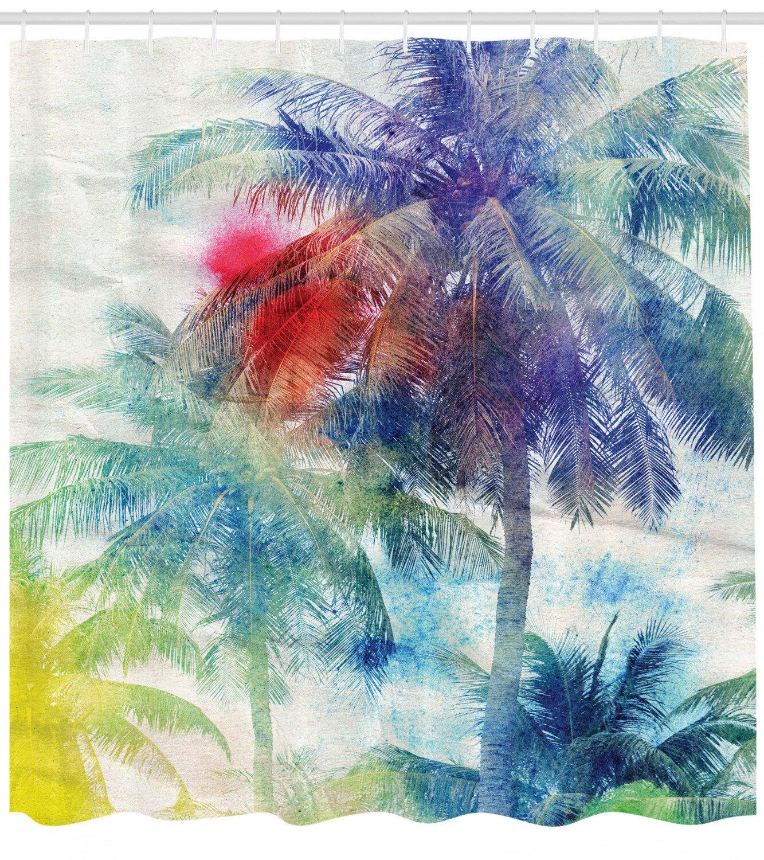 Tropical Beach Maldives Palm Tree Blue Lagoon Bathroom Fabric Shower Curtain Set