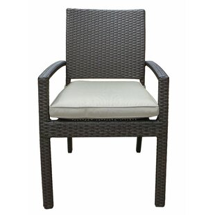 Leanos Stacking Patio Dining Chair with Cushion (Set of 4)