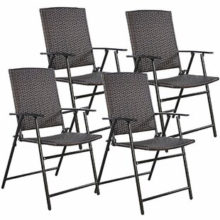 Kriebel Rattan Folding Patio Dining Chair (Set of 4)