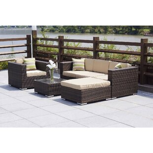 Messina 6 Piece Rattan Sectional Seating Group with Cushions