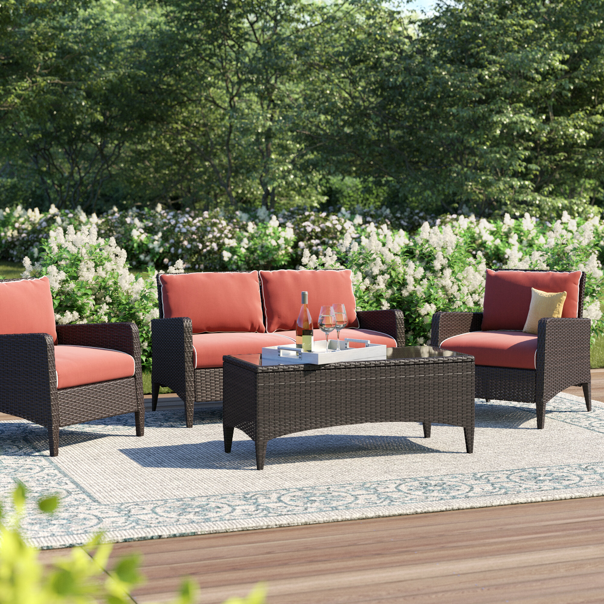 3 4 Person Global Inspired Patio Conversation Sets You Ll Love In 2021 Wayfair