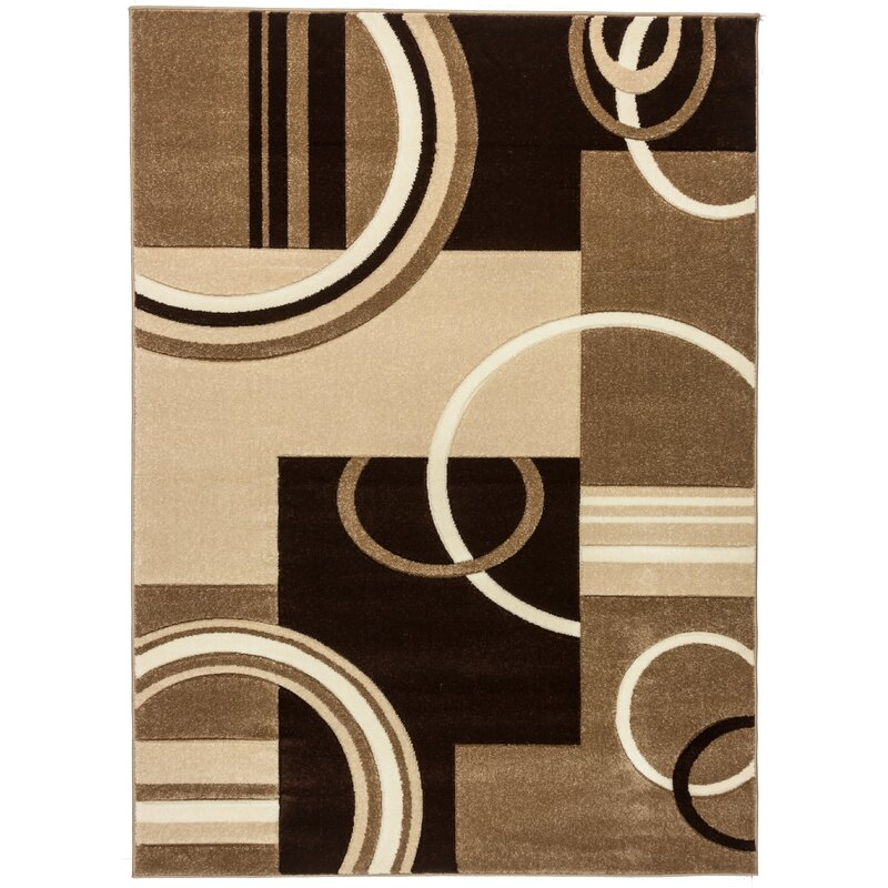 Well Woven Ruby Modern Galaxy Waves Brown Beige Rug