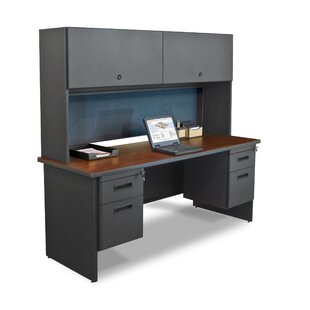 Crivello Flipper Door Cabinet and Lock Computer Desk with Hutch