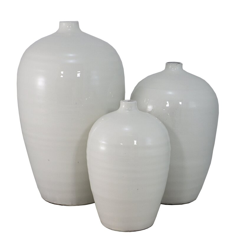 3 Piece White Table Vase Set