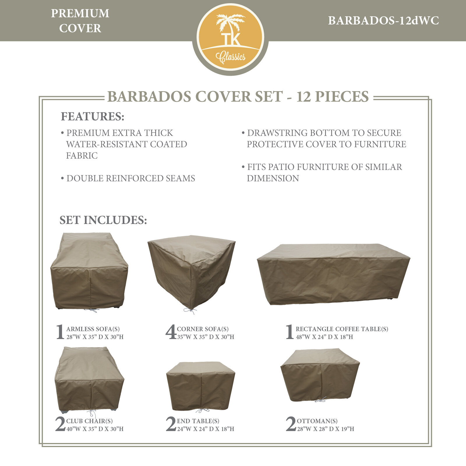 Miraculous Tegan Water Resistant 12 Piece Patio Sofa Cover Set Pabps2019 Chair Design Images Pabps2019Com