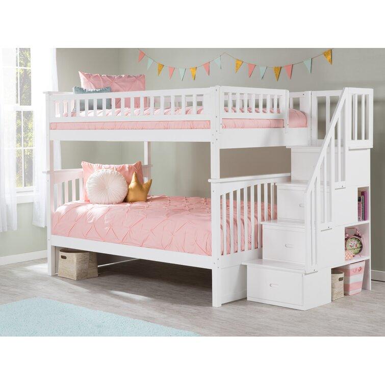 Harriet Bee Abel Full Over Full Solid Wood Standard Bunk Bed With Shelves By Harriet Bee Reviews Wayfair