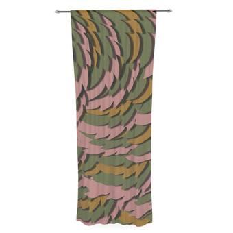 30 x 84 Sheer Curtains Kess InHouse Matt Eklund Foliage Green Geometric Decorative Set