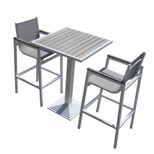 Hornback Outdoor 3 Piece Pub Table Set Latitude Run