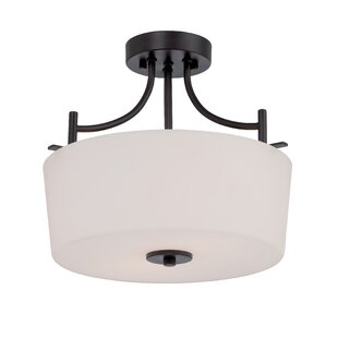 Naugatuck 2-Light Semi Flush Mount by Alcott Hill