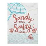 3D Rose Sandy Toes and Salty Kisses Ocean Background Quilt 10 x 10