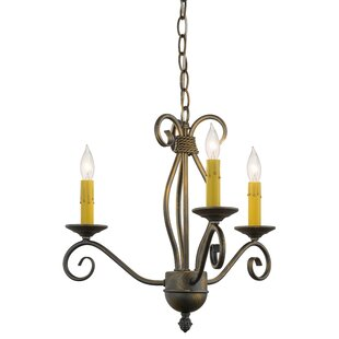 Meyda Tiffany Greenbriar Oak Sienna 3-Light Candle Style Chandelier