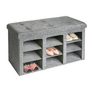 Foldable Tufted 9 Pair Shoe Storage Bench