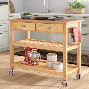 Ewart Kitchen Island with Wood Top Alcott Hill