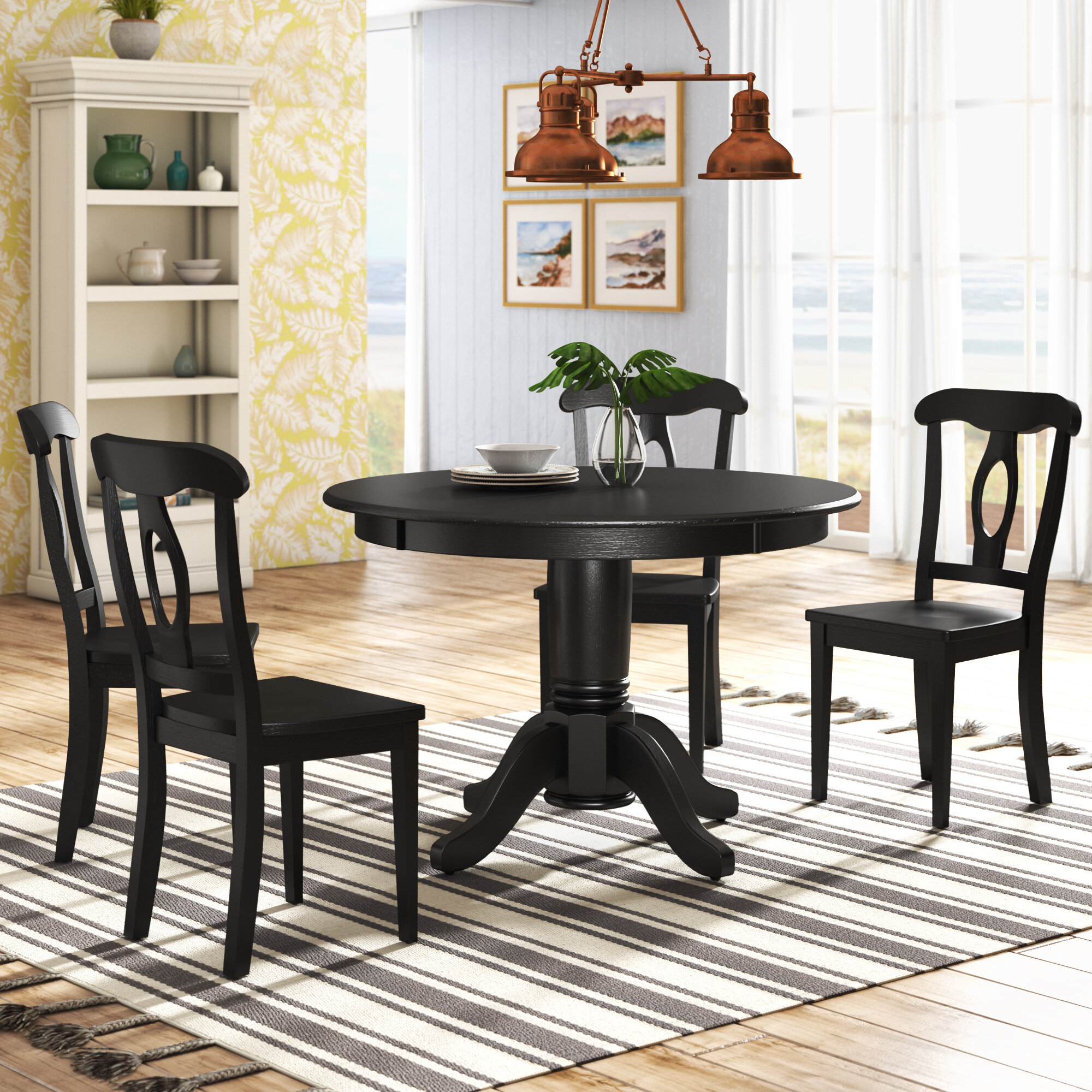 Beachcrest Home Gaskell 4 - Person Rubberwood Solid Wood Dining