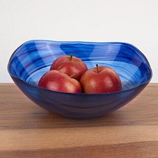 Aishah Glass Square Decorative Bowl in Blue