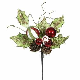 jingle bell holly artificial christmas spray stem set of 3