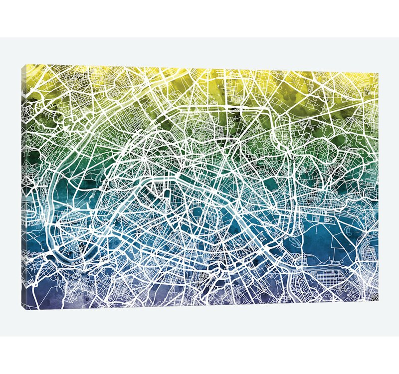 color gradient urban street map series paris france graphic art on wrapped canvas