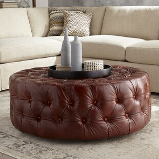 DwellStudio Leather Cocktail Ottoman
