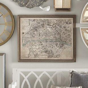Sepia Paris Map Framed Print