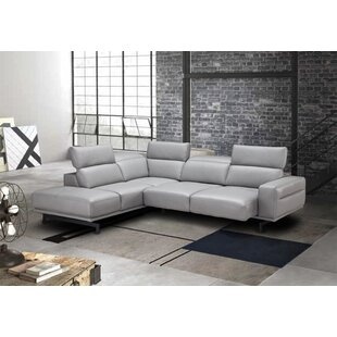 Paulk Leather Sleeper Sectional by Orren Ellis Savings