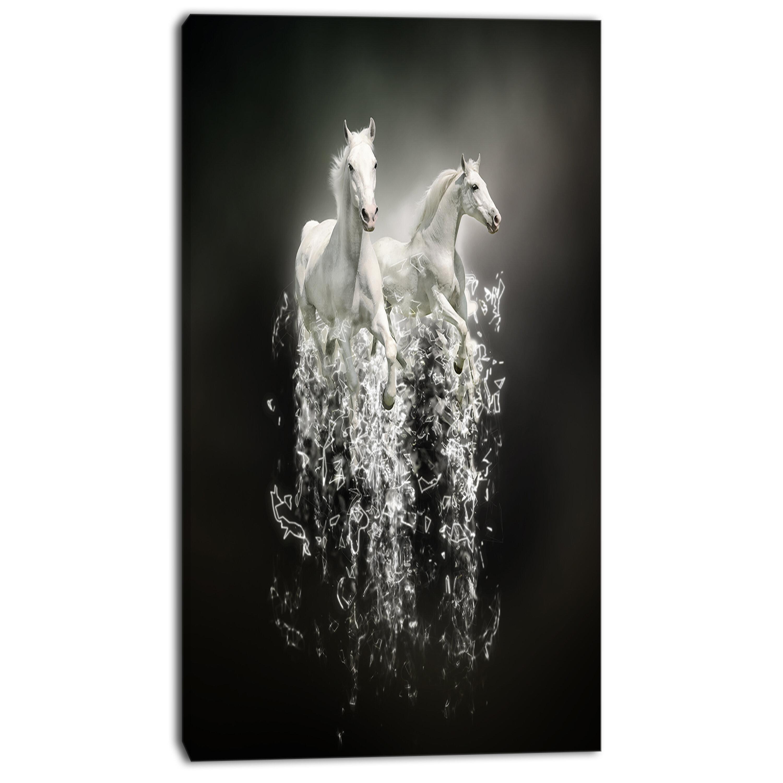 Orren Ellis Fantasy White Horses On Black Wall Art On Wrapped Canvas Reviews