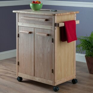 Javier Kitchen Cart with Wooden Top Ebern Designs