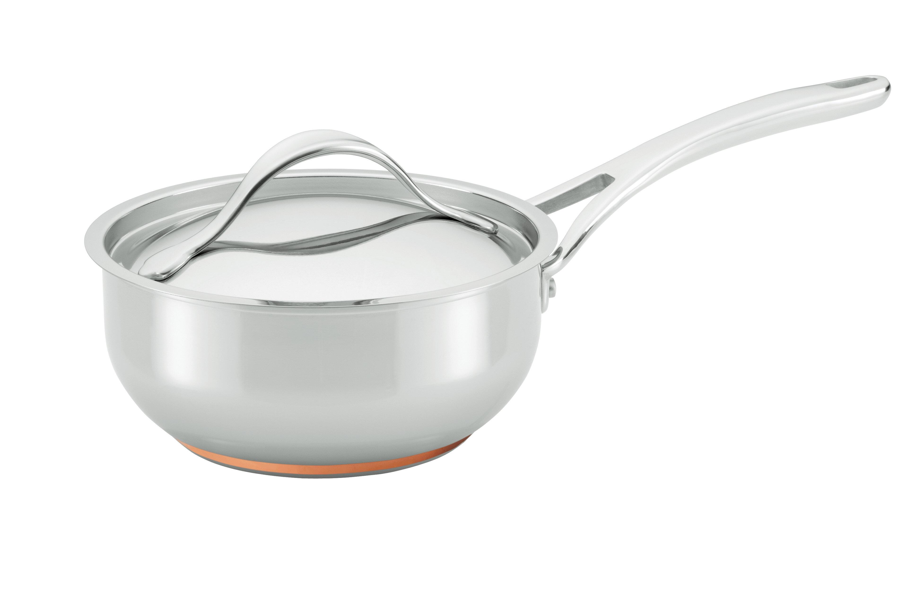 Anolon Nouvelle Copper Stainless Steel 2 5 Qt Saucepan With Lid Reviews Wayfair