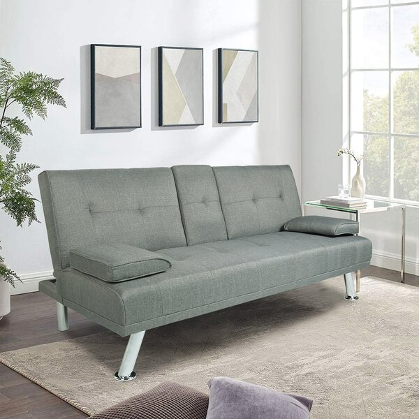 Latitude Run Elom Twin 66 Wide Tufted Back Convertible Sofa Wayfair