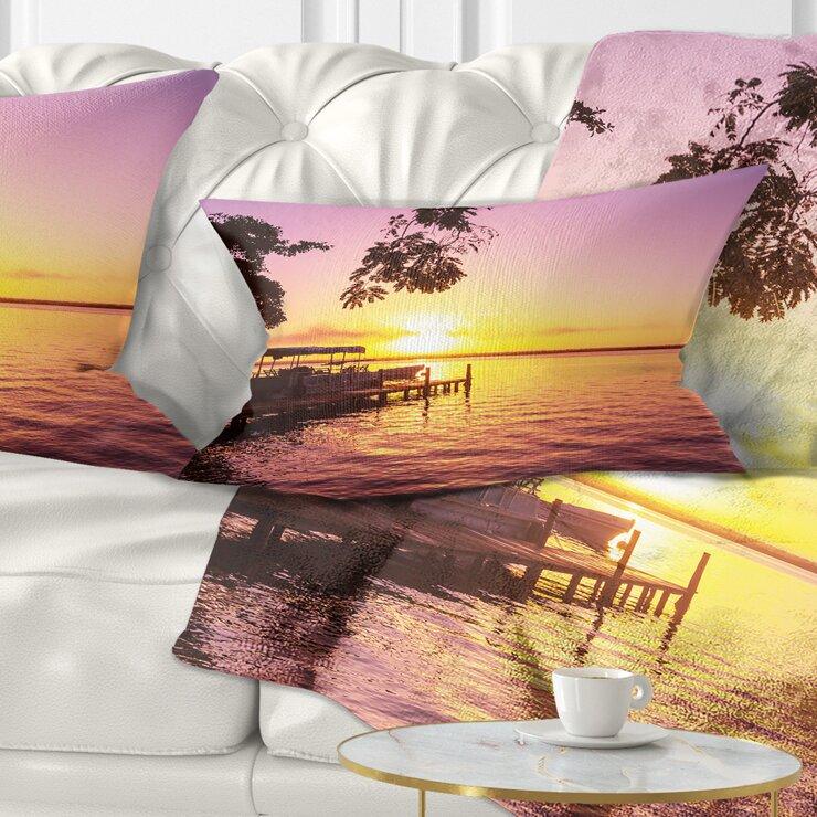 East Urban Home Landscape Tropical Beach With Fantastic Sunset Lumbar Pillow Wayfair