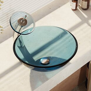 Glass Circular Vessel Bathroom Sink with Faucet ByRené Elkay