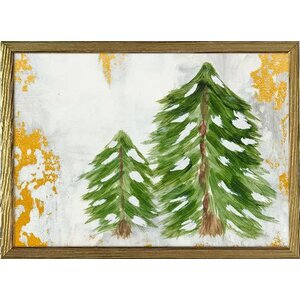 'Holiday - Forest Pine Pair' Framed Acrylic Painting Print on Canvas