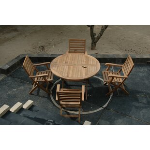 Rosecliff Heights Farnam 5 Piece Teak Wood Dining Set