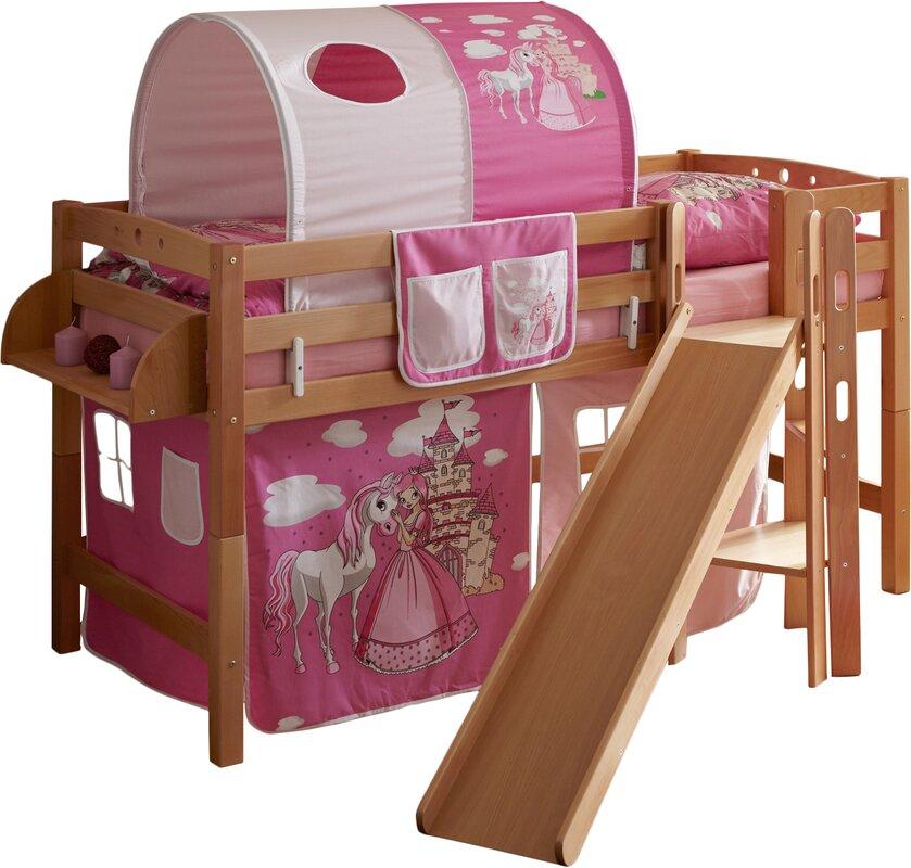 ticaa halbhochbett fino mit rutsche matratze und. Black Bedroom Furniture Sets. Home Design Ideas
