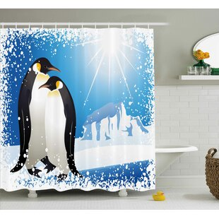 Looking for Winter Cute Penguins on Iceland At Arctic Snowy Frozen Climate Kids Illustration Shower Curtain ByThe Holiday Aisle