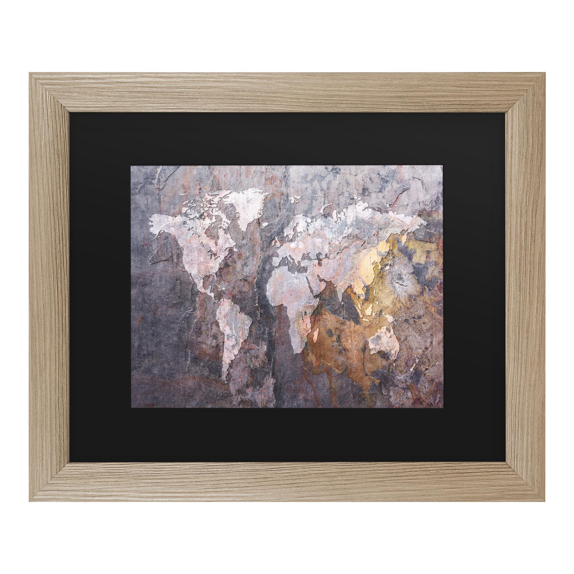Wrought Studio World Map Rock Framed Graphic Art Print On Canvas Wayfair