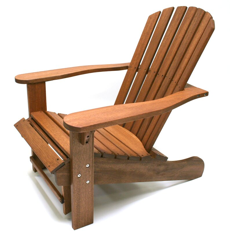 Charming Solid Wood Adirondack Chair With Ottoman