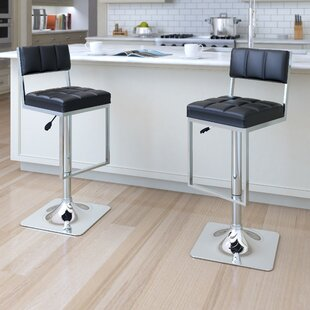 Deck Adjustable Height Swivel Bar Stool (Set of 2) Orren Ellis